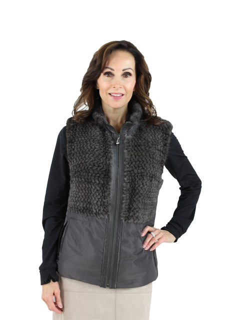 Woman's Sapphire Grey Nylon and Mink Fur Vest