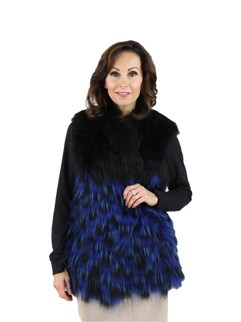 Woman's Black and Blue Dyed Finn Raccoon Fur Vest
