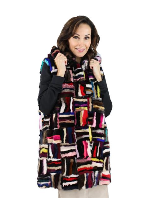 Woman's Multicolored Mink Fur Vest