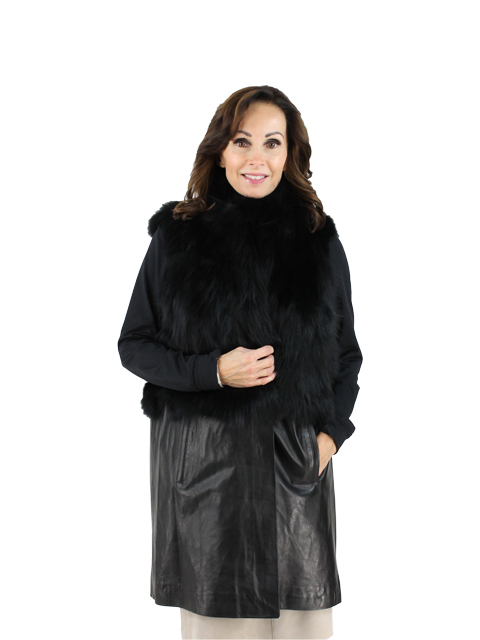 Woman's Black Fox Fur Vest with Leather Hem