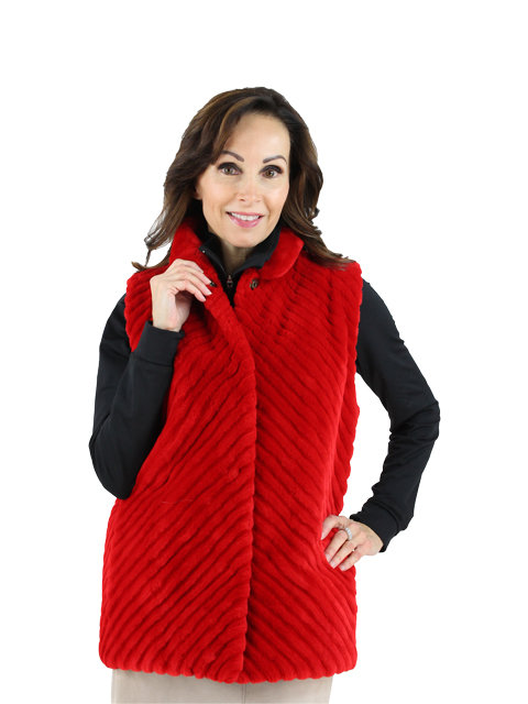 Woman's Red Sheared Beaver Fur Vest