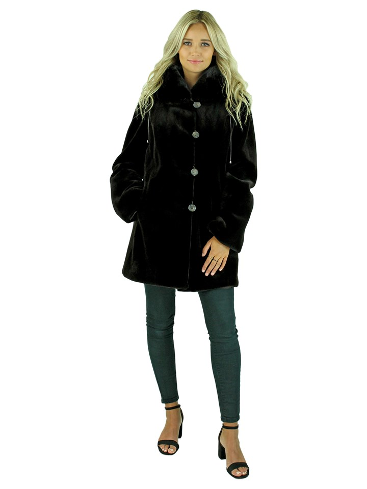 Woman's Gorski Brown Sheared Mink Fur Jacket