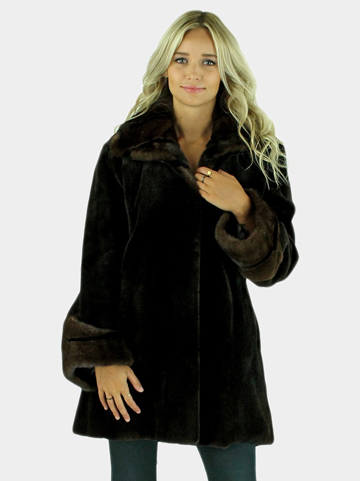 Woman's Mahogany Sheared Mink Fur Jacket