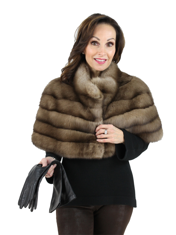 Gorski Woman's Tortora Russian Sable Fur Cape