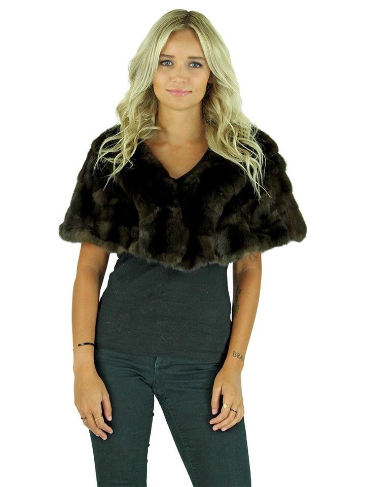 Woman's Natural Dark Brown Gorski Sable Fur Shawl