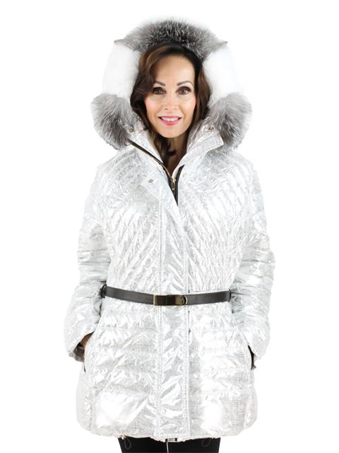 Gorski Woman's Platnium Apres Ski Parka with Fox Trimmed Hood