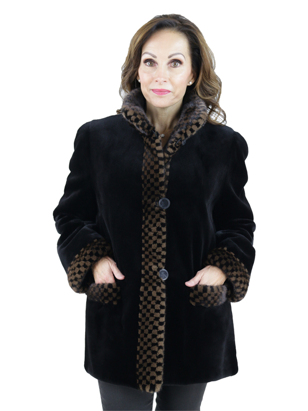 Ranch Mink Jacket with Mahogany Mink Checkered Trim