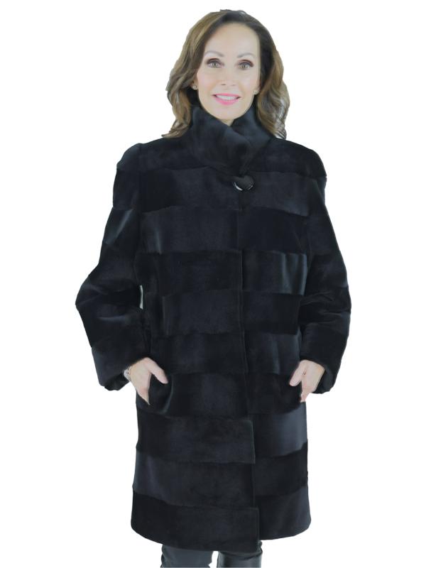 Gorski Horizontal Black Sheared Mink Stroller Reversible