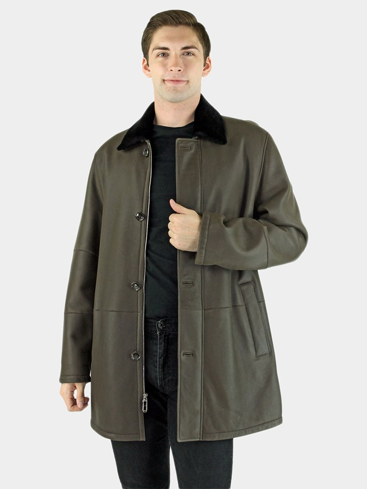 Dark Brown Slate Shearling Coat (Ironed w/ Brown Ironed Fleece)