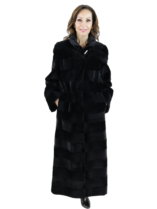Gorski Black Sheared Mink Coat Reversible to Rain Taffeta