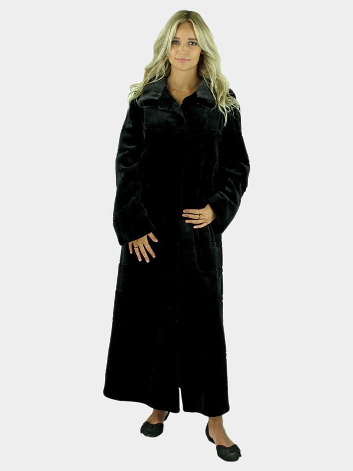 Gorsk Woman's Black Sheared Mink Fur Coat