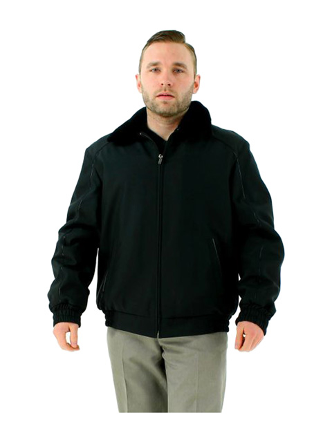 Bold B 52 Black Bomber Nylon Shearling Jacket