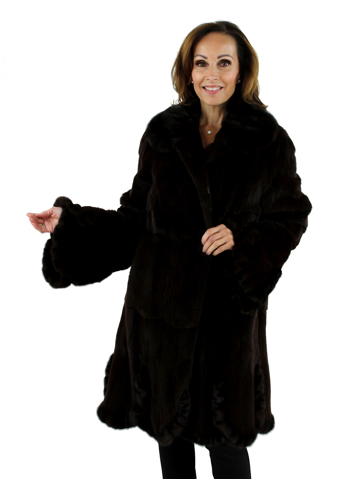 Woman's Brown Semi-sheared Mink Fur Stroller