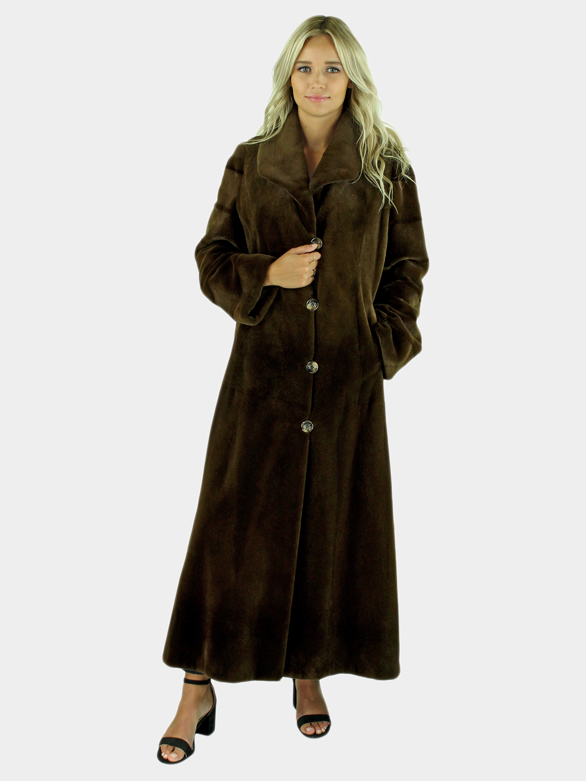 Woman's Russet Brown Sheared Mink Fur Coat
