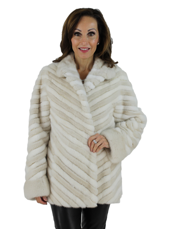 Gorski Woman's Pearl and White Mink Fur Jacket