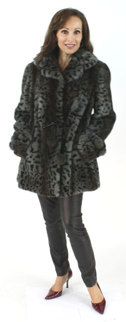Woman's Grey Animal Print Semi-sheared Mink Fur Jacket