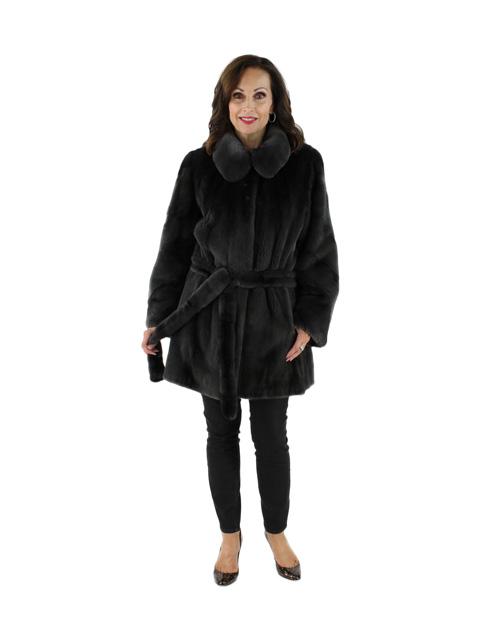 Charcoal Grey Semi Sheared Mink Jacket (Directional Sleeves)