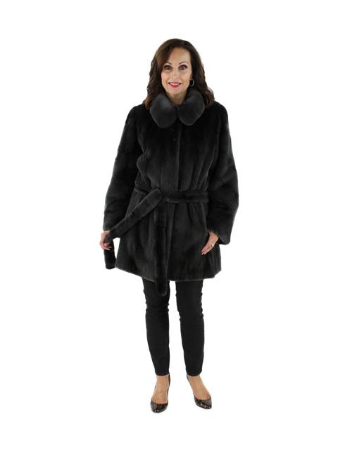 Woman's Charcoal Grey Semi Sheared Mink Fur Jacket