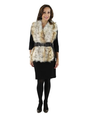 Gorski Woman's Lynx Dyed Fox Fur and Leather Vest