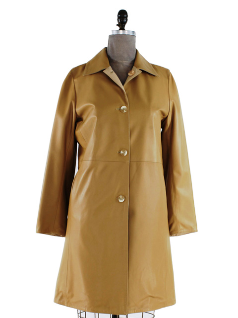 Camel Leather Coat Reversible to Rain Fabric