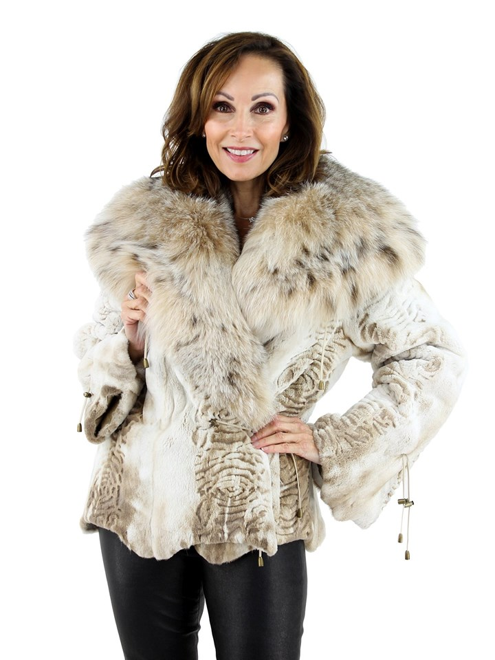 Woman's Iceberg Sculpted Sheared Mink Fur Jacket with Lynx Trim