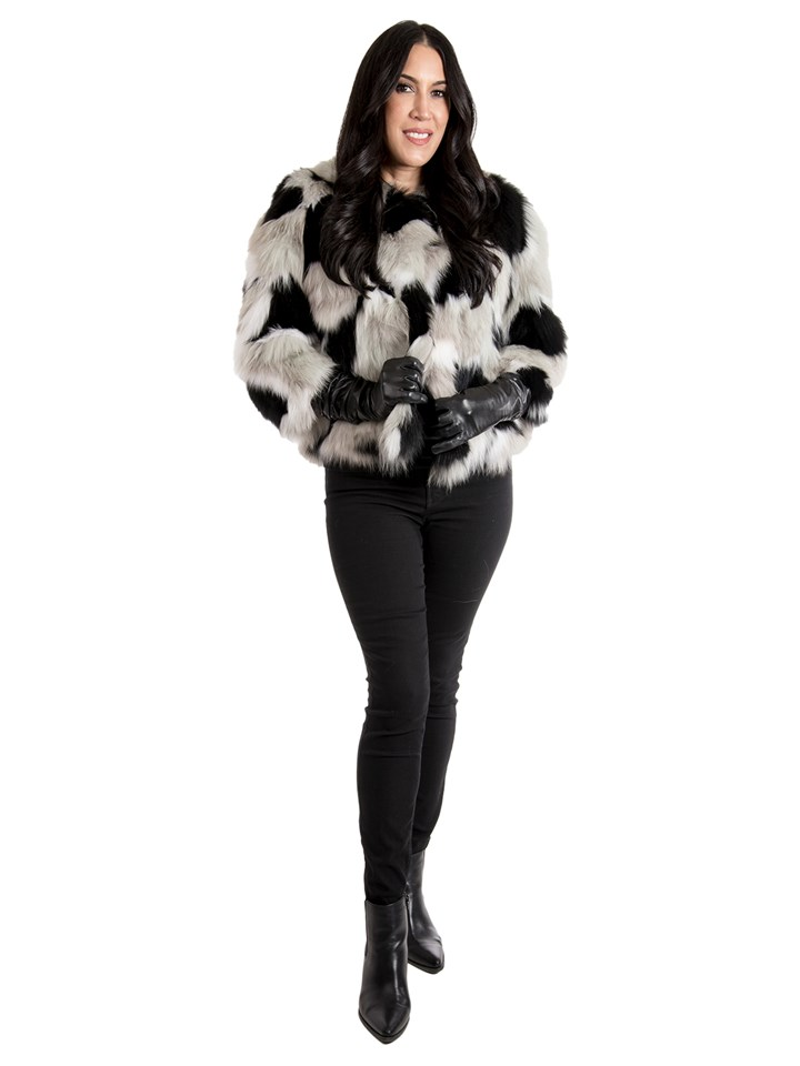 Woman's Black, Tan and White Fox Fur Jacket