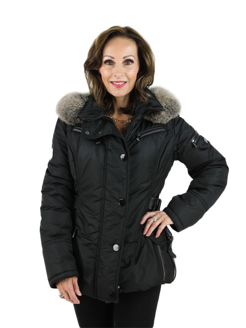 Italian Ski Jacket with Fox Trimmed Hood and Leather Details